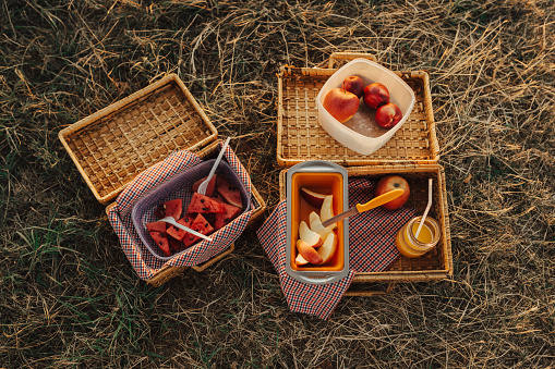 Picnic「Close-up of a picnic baskets on the grass」:スマホ壁紙(7)