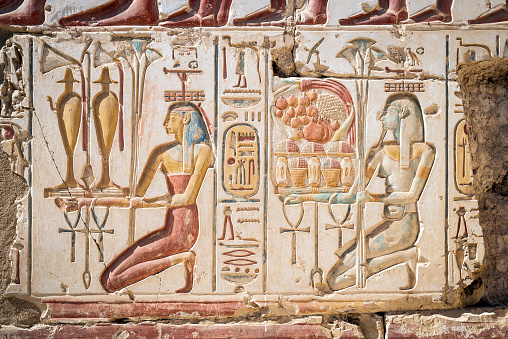 Ancient Egyptian Culture「Close-up of hieroglyphics, Temple of Rameses II, Abydos, Egypt」:スマホ壁紙(19)