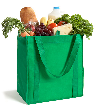 Environmental Conservation「Close-up of reusable grocery bag filled with fresh produce」:スマホ壁紙(17)