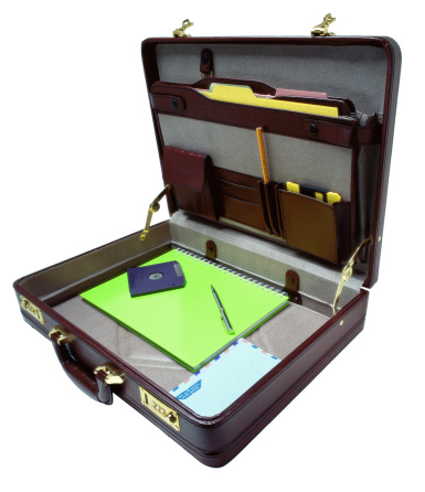 Briefcase「close-up of an open briefcase with office material in it」:スマホ壁紙(5)