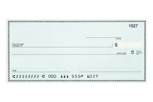 Paying「Close-up of blank bank check sample against white background」:スマホ壁紙(3)