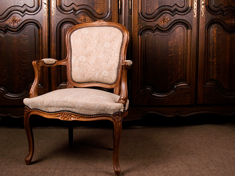Back Of Chair「A close-up of an antique cream colored armchair」:スマホ壁紙(13)