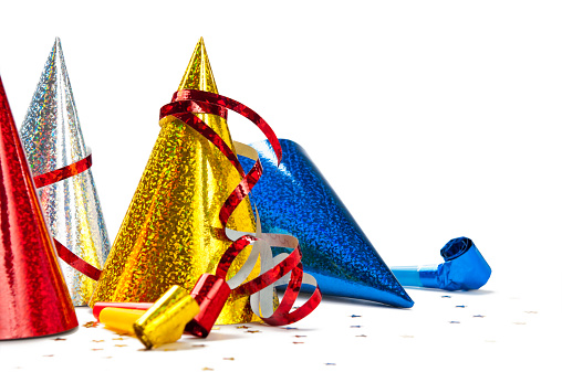 Carnival - Celebration Event「Close-up of multicoloured Party Hats isolated on white background」:スマホ壁紙(10)