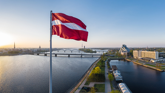 Cathedral「Closeup of the huge flag of Latvia haning above the AB dam in Riga」:スマホ壁紙(2)