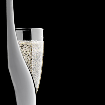 Back Lit「Close-up of champagne bottle and glass, isolated on black background」:スマホ壁紙(3)