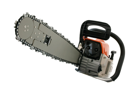 Lumber Industry「Close-up of chain saw isolated on white background」:スマホ壁紙(13)