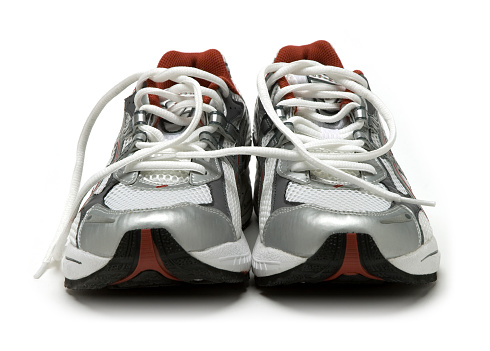 Extreme Close-Up「Close-up of a pair of silver running shoes」:スマホ壁紙(11)