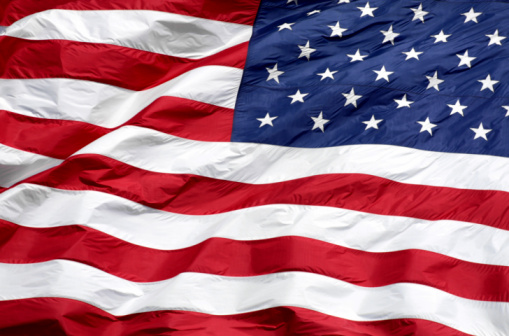 Fourth of July「Close-up of the American Flag waving used for background」:スマホ壁紙(17)