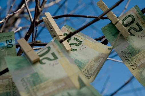 Paying「Close-up of tree limbs with twenty dollar bills clipped on」:スマホ壁紙(7)