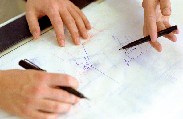 Pencil「Close-up of interior designers drawing up plans」:写真・画像(9)[壁紙.com]