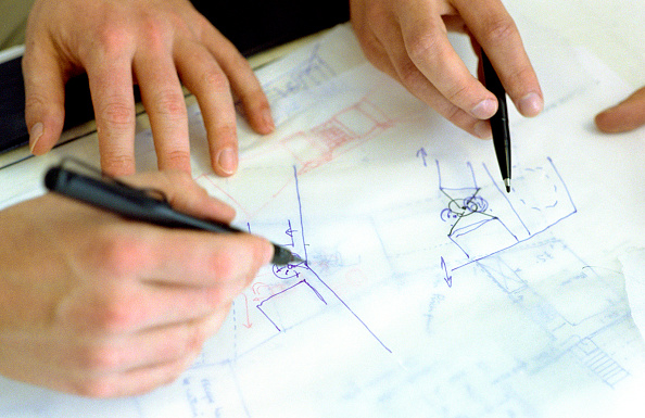 Pencil「Close-up of interior designers drawing up plans」:写真・画像(13)[壁紙.com]