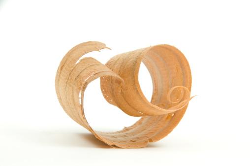 Shavings「Close-up of Single Wood Shaving/Curl #1-Isolated On White」:スマホ壁紙(18)