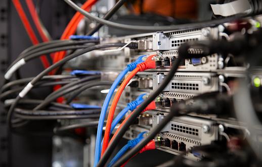 Data Center「Close-up of network connection plug in server room」:スマホ壁紙(7)