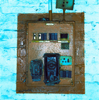 Factory「close-up of a electrical switchboard with burnt components」:スマホ壁紙(19)