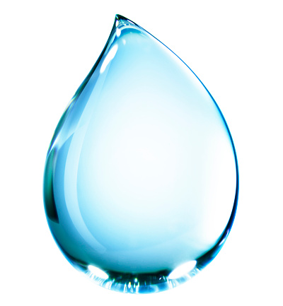 Drop「Close-up of teardrop shaped blue water drop falling, isolated on white background」:スマホ壁紙(12)