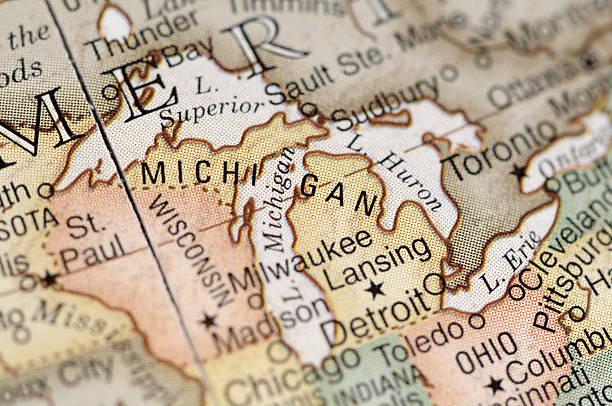 Close-up of American map focusing on Michigan:スマホ壁紙(壁紙.com)