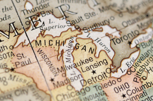 Great Lakes「Close-up of American map focusing on Michigan」:スマホ壁紙(5)