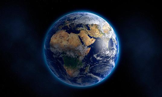 Planet - Space「Glowing Earth floating in space」:スマホ壁紙(10)
