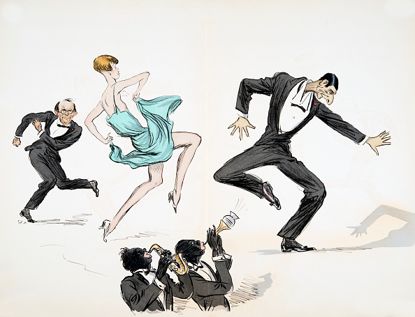 絵「Two Men In Black Tie And Woman In Bright Blue Dress Dance To Jazz」:写真・画像(7)[壁紙.com]