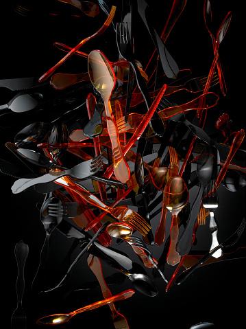 Multiple Exposure「Colored plastic cutlery falling through the air」:スマホ壁紙(16)