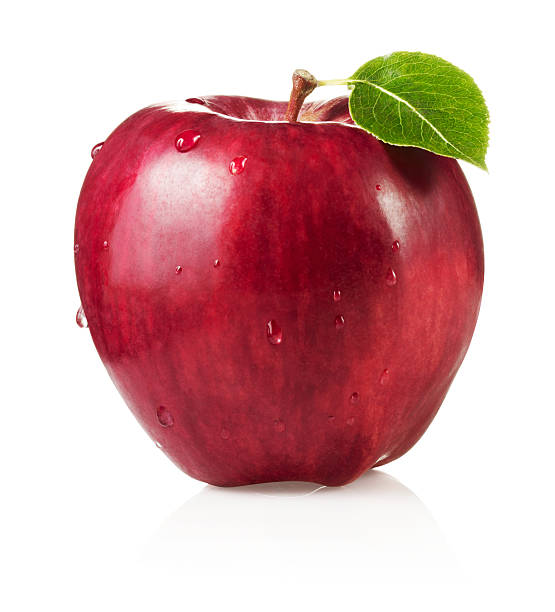 Red Delicious Apple with Leaf:スマホ壁紙(壁紙.com)