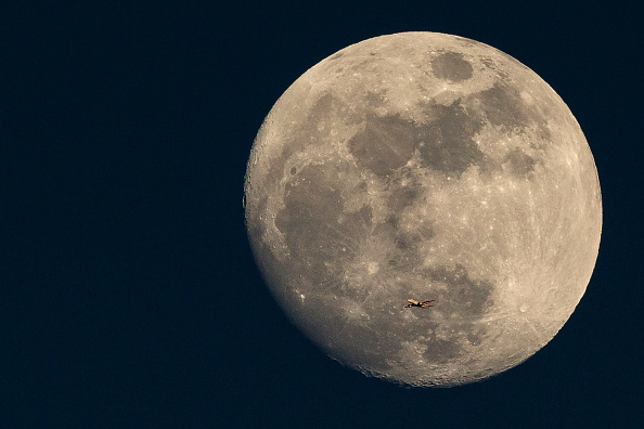 Moon「A Plane Is Dwarfed As It Flies Past The Moon」:写真・画像(1)[壁紙.com]