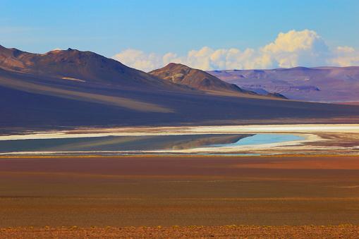 Bolivian Andes「Dramatic Salar de Tara lagoon, lake reflection, and rock formations - Idyllic Atacama Desert, Volcanic landscape panorama – San Pedro de Atacama, Chile, Bolívia and Argentina border」:スマホ壁紙(3)