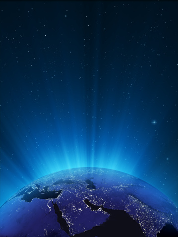 Digitally Generated Image「Glowing Globe at Night Series - Middle East」:スマホ壁紙(1)