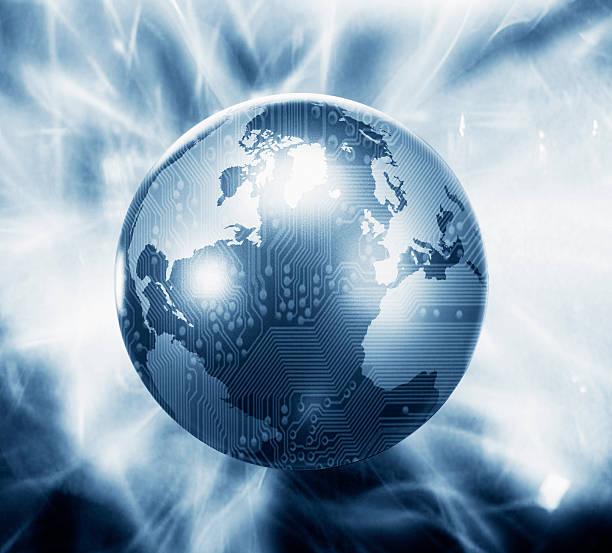 Glowing globe with microchip overlay:スマホ壁紙(壁紙.com)