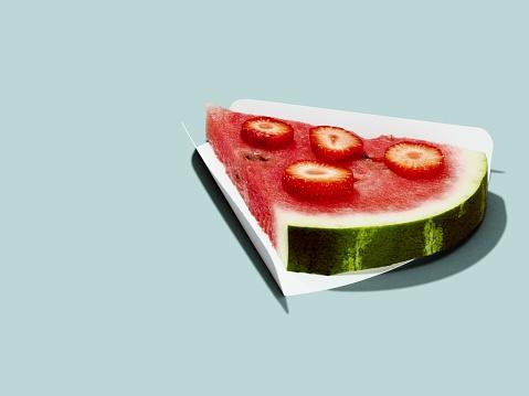 スイカ「Watermelon slice with strawberries」:スマホ壁紙(2)