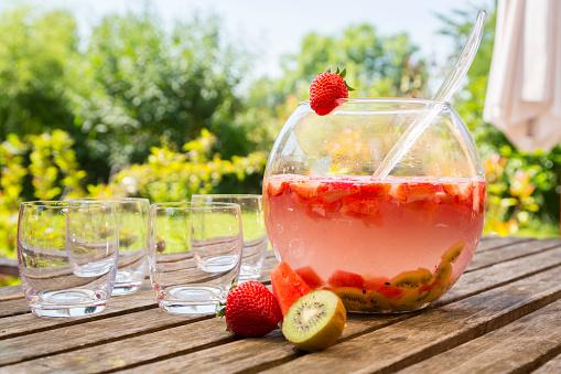 Kiwi「Watermelon strawberry kiwi bowle in garden」:スマホ壁紙(0)