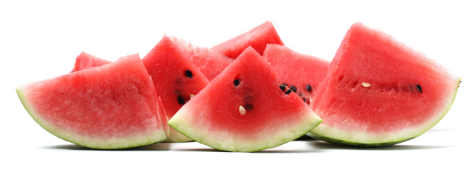 Melon「Watermelon pieces isolated on white」:スマホ壁紙(16)