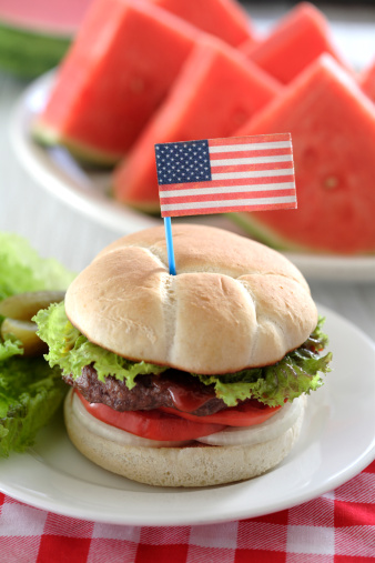 Fourth of July「Watermelon and hamburger with American flag decoration」:スマホ壁紙(6)