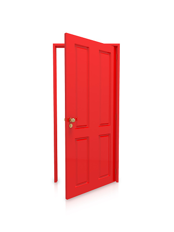 Red「Open red door on white background」:スマホ壁紙(10)