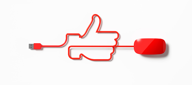 Human Hand「Red Mouse Cable Forming A Thumbs Up Symbol On White Background」:スマホ壁紙(16)