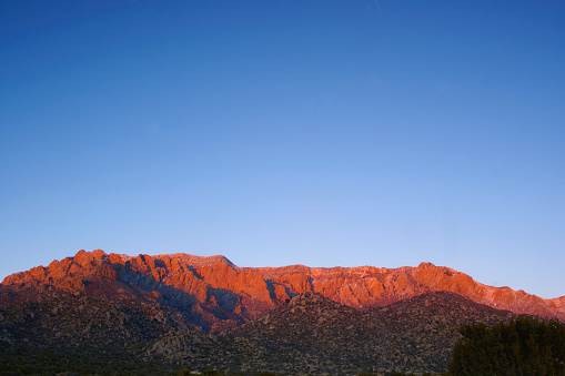 Sandia Mountains「landscape sunset mountain red with blue sky」:スマホ壁紙(5)