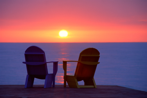 Outdoor Chair「Deck chairs with sunset, Virgin Islands」:スマホ壁紙(5)
