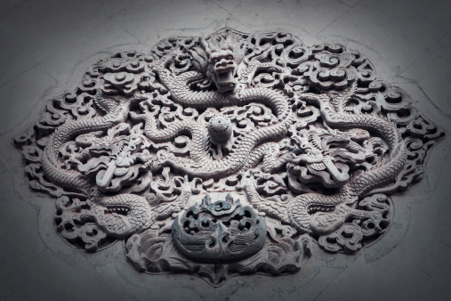 Dragon「Ornate low relief sculpture of dragon on wall.」:スマホ壁紙(9)