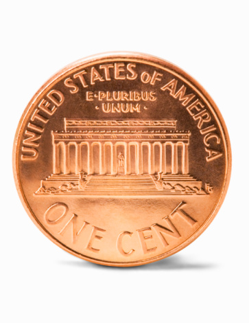 Mid-Atlantic - USA「US penny, against white background, close-up」:スマホ壁紙(12)