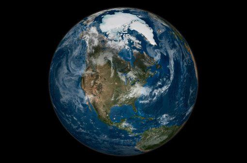 Central America「This image shows a view of the Earth on September 21, 2005 with the full Arctic region visible.」:スマホ壁紙(10)