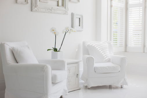 Living Room「Armchairs in elegant white living room」:スマホ壁紙(17)