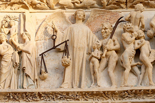 The damned are hurled to Hell. The last judgment. Western portal. Bourges cathedral.:スマホ壁紙(壁紙.com)