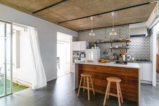 Stool「Modern Japanese Home Kitchen and Sliding Door Access」:スマホ壁紙(5)
