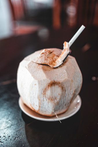 Coconut Water「Coconut cocktail with drinking straw」:スマホ壁紙(15)
