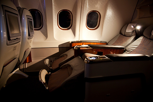 Passenger Cabin「Business class reclined seats of airplane」:スマホ壁紙(9)