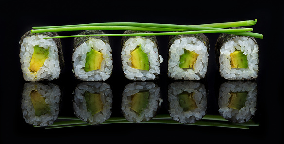 和食「Sushi arranged on a shiny black surface looking delicious - Studio, South Africa」:スマホ壁紙(3)