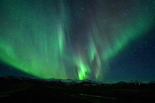 星空「Northern Lights, Jokulsarlon, Iceland」:スマホ壁紙(1)