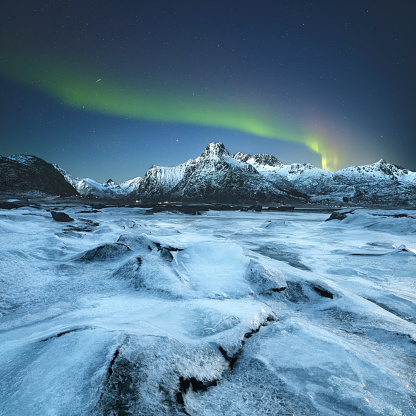 Frozen「Northern lights, Lofoten, Norway」:スマホ壁紙(3)