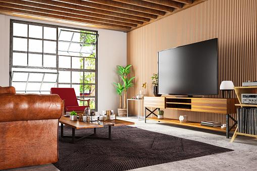 Art「Loft Wooden Room with Television Set」:スマホ壁紙(4)