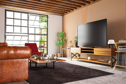 Wood Paneling「Loft Wooden Room with Television Set」:スマホ壁紙(4)